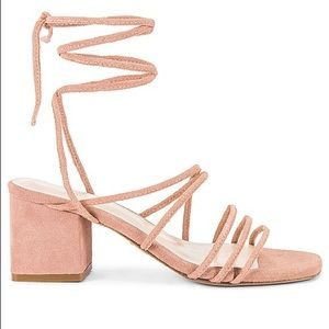 RAYE Lunar Nude Strappy Wrap Lace Sandals